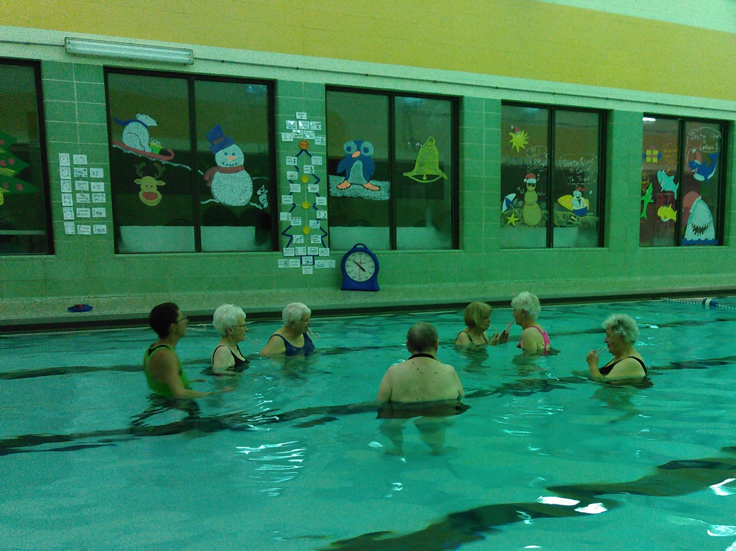 Joints in Motion Participants Passing a Lifesaver During Valentine's Day Class