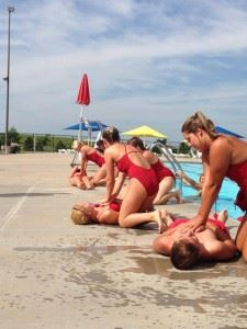 Lifeguards practice giving CPR